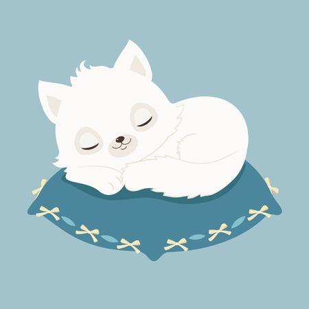 Weiße Katze / Kätzchen auf einem blauen Kissen schläft. Vector cartoon illustration