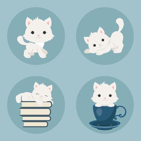 cute kittens: Cute playful kittens icons set. Vector cartoon illustrations.