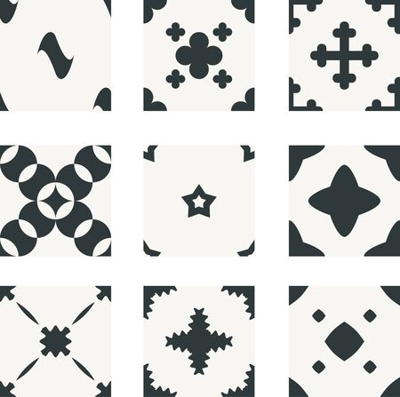 geometrical: Nine geometrical seamless patterns. Black and white graphic wallpaper