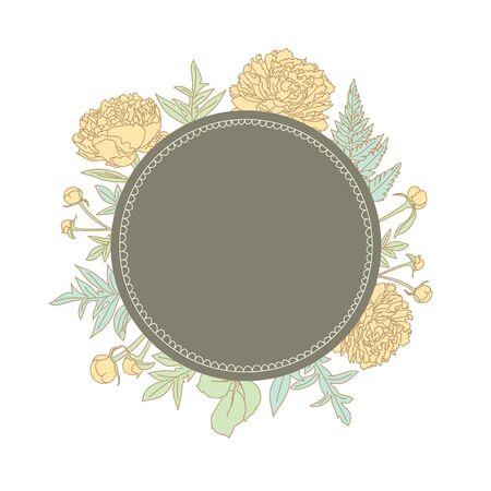 Hand getrokken pioenen achter de lege frame met ruimte voor uw tekst. Vector illustratie. Zeer geschikt voor het ontwerpen van uitnodigingen, kaarten, etiketten