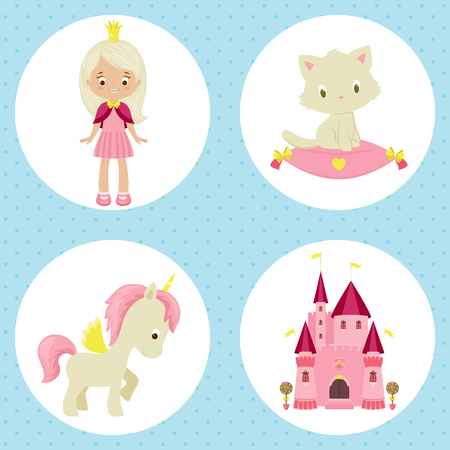 blonde teenager: Princess and fairy tale related icons. Little princes, kitten, unicorn and castle. Vector cartoon illustration
