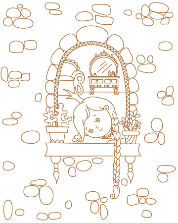 Fairy tale hand drawn illustration. Sad princess in a window. Linear uncolored vector illustration. Coloring page template. 向量圖像