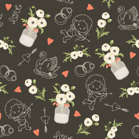 whie: Rustic wedding vector seamless pattern. Whie poppy flowers, mason jars, flowers, hearts, swans, angels. Eps 10 Illustration