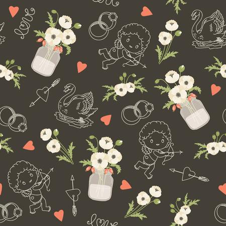 mason: Rustic wedding vector seamless pattern. Whie poppy flowers, mason jars, flowers, hearts, swans, angels. Eps 10 Illustration