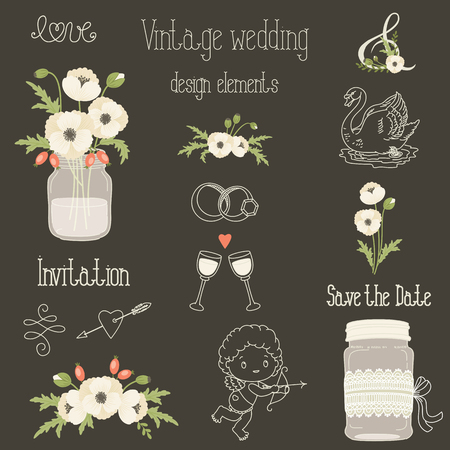 mason: Rustic wedding design elements with white poppy flowers. Vector set of vintage hand drawn clip art. Mason jars, flowers, lettering, banner, dividers, and more. Eps 10 Illustration