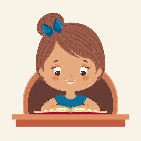 smart girl: Little girl reading a book. Happy child is reading. Vector cartoon illustration.