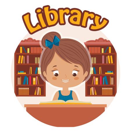 Meisje het lezen van een boek in de bibliotheek. Gelukkig kind leest. Vector cartoon illustratie.