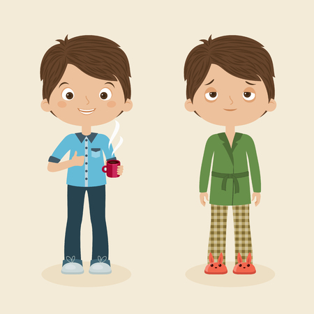 tired: Two boysmen characters: awake and cheerful with cup of coffee and sleepy or tired boy. Vector cartoon illustration