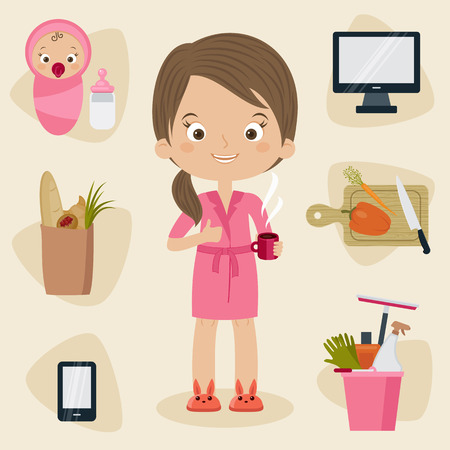 Busy mom concept. Woman in a bath suit with coffee and many things to do during the day around her. Vector cartoon illustration. 向量圖像