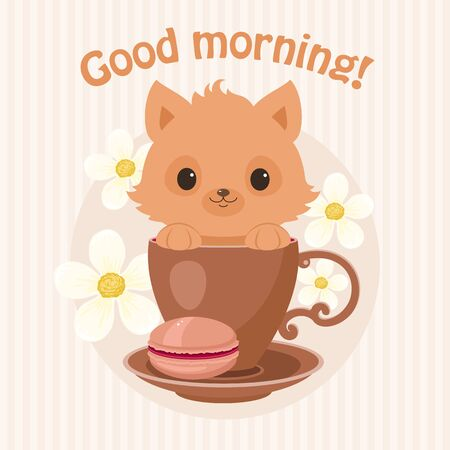 Brown kitten/cat in a tea cup vector illustration. Cute curious kitten/cat peeping from the cup