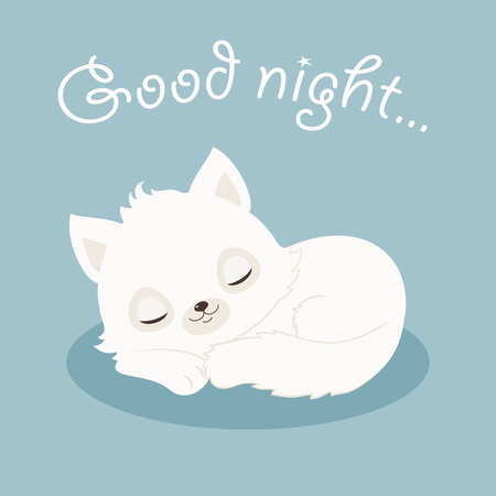 흰색 고양이 잠자는  새끼 고양이. 좋은 밤 그림. 벡터 만화 일러스트 레이션