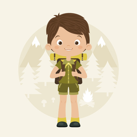 energized: Happy boy scout with backpack in forest. Vector cartoon illustration. Scouting concept.