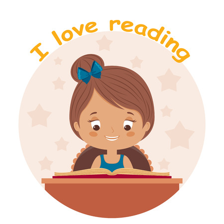 smart girl: Little girl reading a book with a text I love reading. Happy child is reading. Little girl loves to read. Vector cartoon illustration.