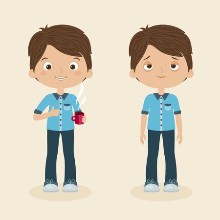 energized: Two boysmen characters: awake and cheerful with cup of coffee and sleepy or tired. Vector cartoon illustration Illustration