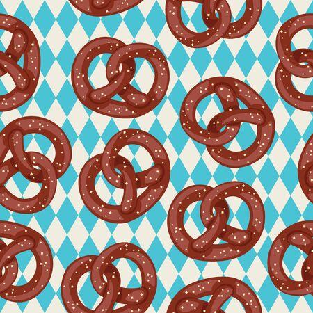 독일어 pretzels 원활한 패턴입니다. 파란색 바바리아 배경에 소금 된 프레즐입니다. 벡터 벽지입니다.