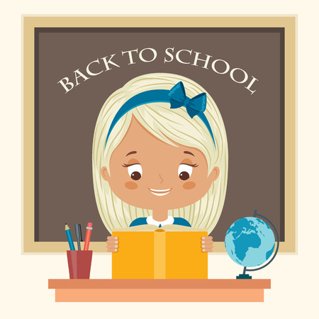 cartoon school girl: Happy child reading a book at school. Little girl studying. Back to school vector cartoon illustration.