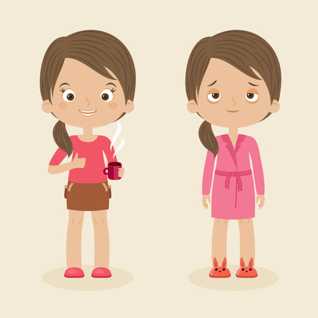 energized: Two girlswomen characters: awake and cheerful with cup of coffee and sleepy or tired. Vector cartoon illustration