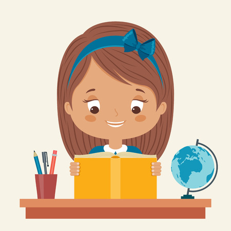 niños estudiando: Niña que estudia. Feliz aprendizaje infantil. Vector ilustración de dibujos animados.