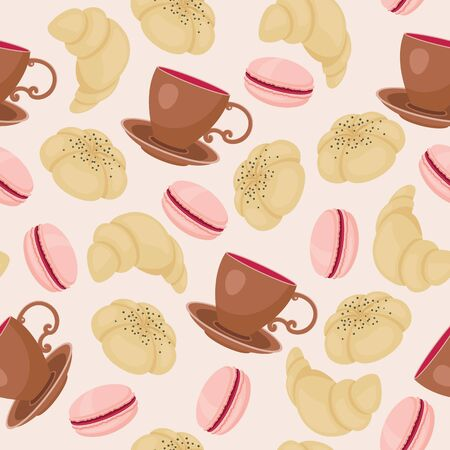 Confectionery with cup of coffee/tea seamless pattern. Vector illustration