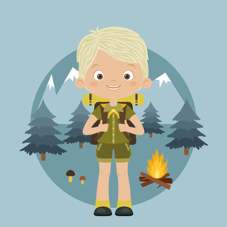 Happy boy scout with backpack in forest. Mountains, trees and camp fire on the background.  Scouting concept. Vector cartoon illustration. Ilustração