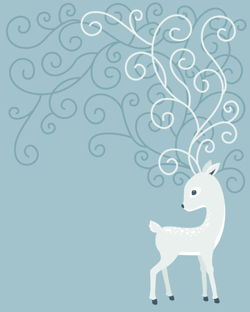 white tail deer: Deer with curl horns on blue background. Fawn cartoon vector illustration.  Elegant card template with space for your text
