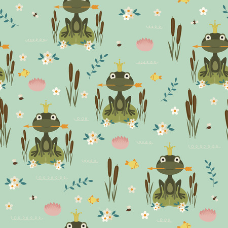 children's story: Princess frog holding an arrow on lake. Seamless vector pattern Illustration