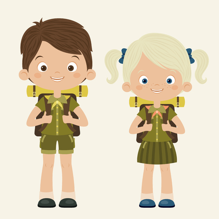 scouting: Boy and girl scouts. Scouting concept. Vector cartoon illustration. Illustration