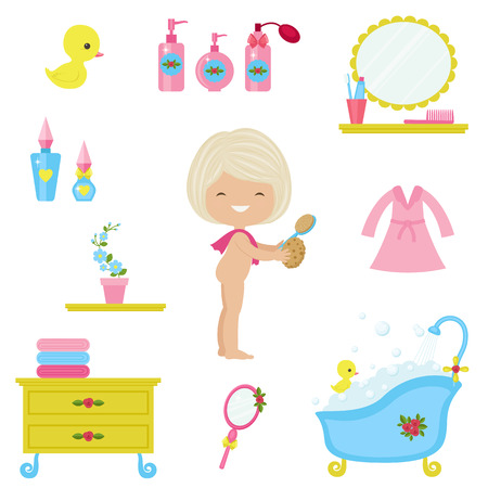 Bath time icons set. Children's bath time. Vector clip art.