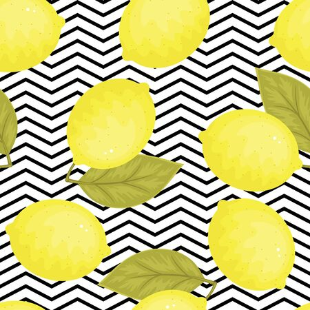 chevron background: Lemons seamless pattern. Bright lemons with leaves on black and white chevron background. Vector seamless wallpaper.