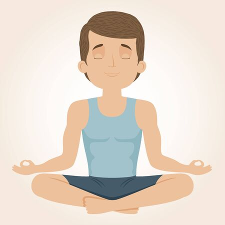Man doing yoga. Yog sitting in a lotus position. Vector illustration.