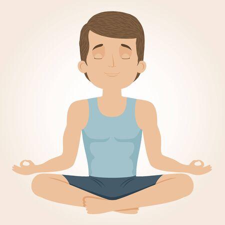 yog: Man doing yoga. Yog sitting in a lotus position. Vector illustration.