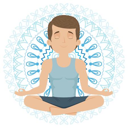 man meditating: Man doing yoga. Yog sitting in a lotus position. Vector illustration.