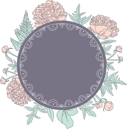 Hand drawn peonies behind blank frame with space for your text. Vector illustration. Great for designing invitations, cards, labels