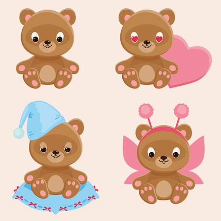 cuddly: Four different teddy bears characters. Part 2. Cute web icons set. Vector cartoon illustration Illustration