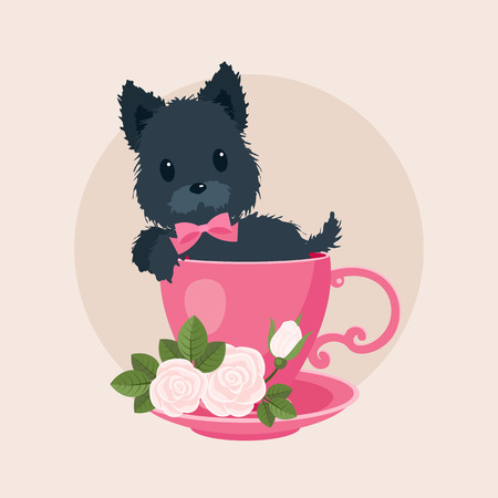 puppydog: Black puppydog in a teacoffee cup with roses. Vector cartoon illustration. Cute curious puppydog peeping from the cup Illustration