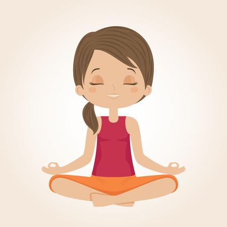 Woman doing yoga. Yog sitting in a lotus position. Vector illustration.