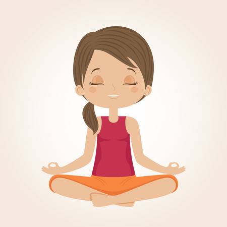 yog: Woman doing yoga. Yog sitting in a lotus position. Vector illustration.