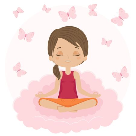 nirvana: Woman doing yoga. Girl sitting in a lotus position on cloud with butterflies around. Vector illustration.