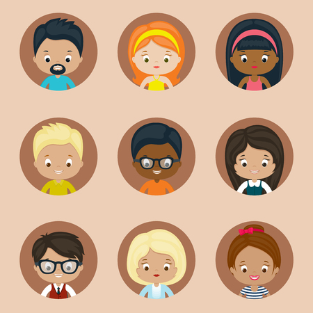 boy with glasses: Avatar vector icons set for website. Males and females.