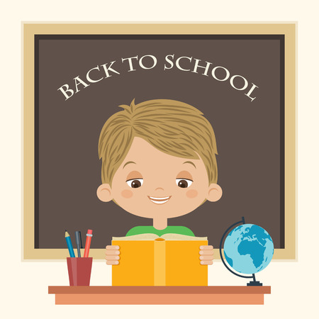 Happy boy reading a book at school. Little boy studying. Back to school vector cartoon illustration