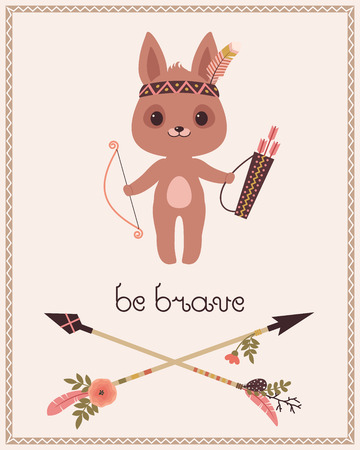 brave: Be brave childrens poster. Cute cartoon little bunnyrabbit with bow and arrows. Original lettering Be brave and two crossed arrows. Vector cartoon illustration.