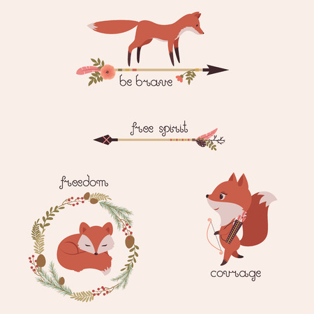 courage: Three foxes illustrations with floral arrows and wreath. Original lettering Be brave, Free spirit, Freedom, Courage. Vector cartoon illustration.