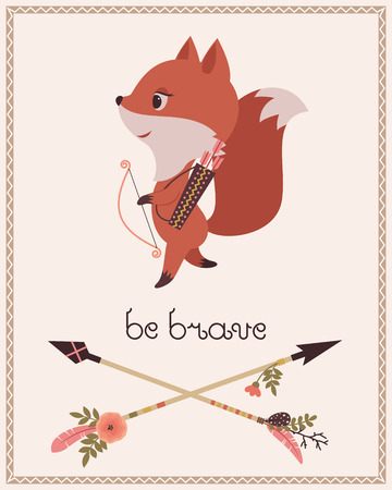 brave: Be brave childrens poster. Cute cartoon little fox with bow and arrows. Original lettering Be brave and two crossed arrows. Vector cartoon illustration.