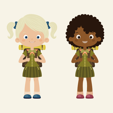 girl scout: Girls scouts. Scouting concept. Vector cartoon illustration.