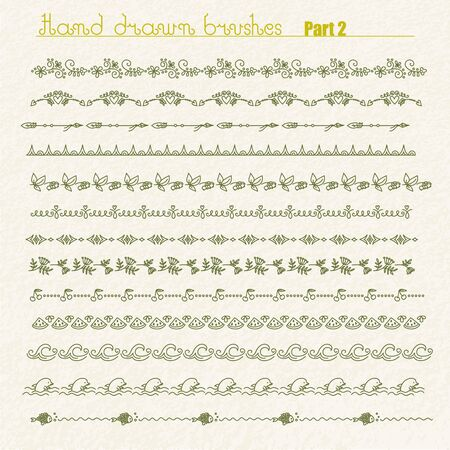 Vector hand drawn brushes set. Can be used as dividers or borders. Over rough texture. Design elements set. Part 2