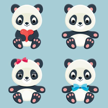 Pandas iconos web. Vector conjunto de osos asiáticos lindos