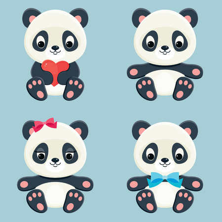 Pandas web icons. Vector set of cute asian bears