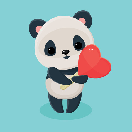 adoring: Cute panda holding a heart lollipop. Asian black and white bear. Vector cartoon illustration