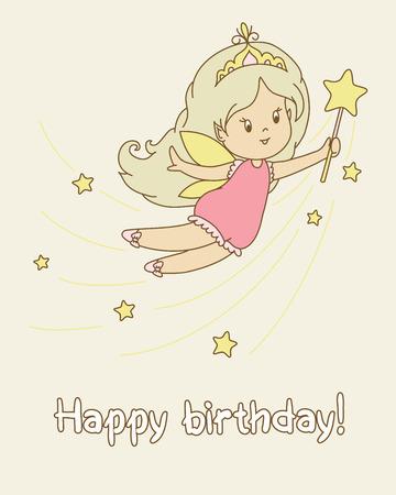 illustraion: Birthday card. Flying cartoon fairy with a wand. Text Happy birthday.  Vector illustraion. Illustration