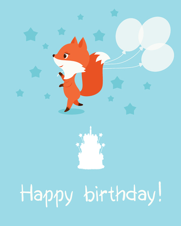 best wishes: Birthday card. Little fox with balloons. Text Happy birthday, birthday cake silhouette. Vector illustration. Illustration